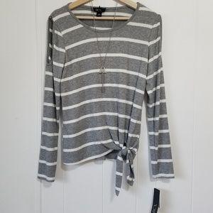 BCX   NWT Gray & White Stripped Top   SZ M